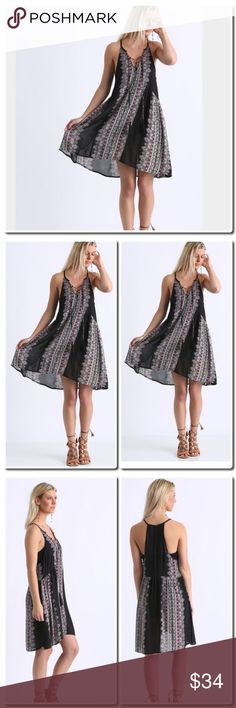 """COMING SOON Lace Up Dress Details From En Crème comes this bohemian-chic lace up dress we know you already love just by looking at it. With its engineered designs, lace up front with tassel detail, keyhole back, and whimsical silhouette, who needs to coordinate a whole outfit when you can simply slip into this bad boy?   Lace up dress Engineered designs V-neckline Tassel detail Keyhole back accent Flowy fit 100% rayon Hand wash cold, dry flat Measures approximately 36"""" from shoulder Model…"""