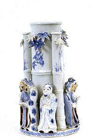 Meiji Japanese Blue & White Hirado Bamboo Figure Vase