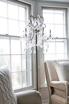 Our Living Room - Coordinately Yours by Julie Blanner entertaining & design that celebrates life Chandelier Floor Lamp, Diy Floor Lamp, Floor Lamp Shades, Chandelier In Living Room, Living Room Lighting, Home Lighting, Lighting Ideas, Cottage Living Rooms, Small Living Rooms