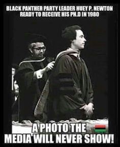 Black Panther Huey P. Newton receiving his Ph.D. in 1980
