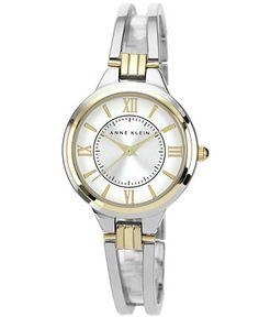 Anne Klein Watch, Women's Two-Tone Bangle Bracelet 29mm AK-1441SVTT (gold & silver)