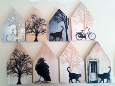 very nice idea with old wood and paintings - woodwork Home Crafts, Diy And Crafts, Arts And Crafts, Wood Projects, Projects To Try, Ceramic Houses, Wooden Houses, Block Craft, Driftwood Art