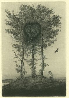 Konstantin KALYNOVYCH : Winter Heart I. Etching, dry point, mezzotint, 12x8cm, 1997