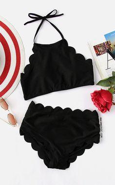 Scalloped Trim Halter High Waist Bikini Set Source by makemechic Bathing Suits For Teens, Summer Bathing Suits, Swimsuits For Teens, Cute Bathing Suits, Cute Swimsuits, Bikini Outfits, Teen Fashion Outfits, Bikini Set, Bikini Beach