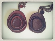 Antique brass and leather flower necklace/ Black Army by IoannouS