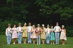"""One of the best ways to create a unique look for your wedding is to have your guests dress a certain way! Bohemian, Country, Geek Chic, Vintage, Rock Star, whatever you want! Just create a Pinterest board called """"Guest Attire"""" and pin some of your favorite types of clothing. Then post the board link to your wedding website and encourage your guests to check it out! It will take your wedding to a whole new level. Photo by Love is a Big Deal, via Green Wedding Shoes."""