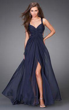 Long Formal Dresses for Women | Sheer Two Strap Open Back Long Prom Dresses Navy Cheap Design