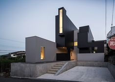 Japanese house designed with a variety of windows to create a hierarchy of views.
