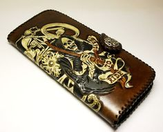 Handmade  leather hand-tooled men's bikers by PFLeatherGlass