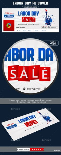 Labor Day Sale Facebook Cover Template #design Download: http://graphicriver.net/item/labor-day-sale-facebook-cover/12663201?ref=ksioks
