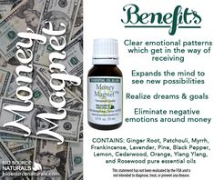 Help clear negative emotions that get in the way or receiving with our Money Magnet Essential Oil Blend. #aromatherapy