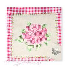 Cross stitch Rose  Machine embroidery