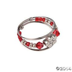 Red & White Memory Wire Ring