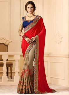 Buy Grey N Red Half N Half Saree online, SKU Code: SASUN27880. This Red color Wedding half n half saree for Women comes with Embroidered Art Silk. Shop Now!