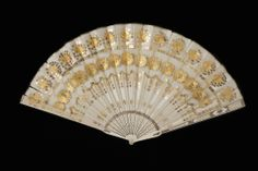 1825, Portugal - Fan - Silk satin and silk net with foil and sequins