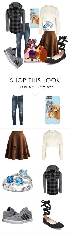 """Disney Love - Lady and theTramo"" by uniquefabulous ❤ liked on Polyvore featuring Nudie Jeans Co., Chicwish, DKNY, adidas and Steve Madden"