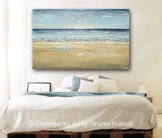 """""""At the Beach"""" Giclee Print or Canvas Print of Sold Original Art Blue Abstract Painting. Stunning, modern seascape fine art. Contemporary, large, wall art, coastal home decor. Reproduction of modern palette knife painting with serene, pale ocean blue, navy blue, light blue, grey, sandy beige, and white layered in a way to create the shimmering light nuances and textures of the shore - you can almost hear the sound of the waves. Original SOLD painting is mixed media acrylic on gallery wrapped…"""