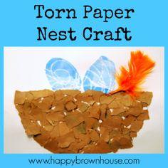 Torn Paper Nest Craft to work on fine motor skills from happybrownhouse.com @Sara Eriksson Eriksson @Sara Eriksson @Sara @HappyBrownHouse #nest #spring #finemotorskills #kbn #ihsnet #ece