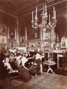 Queen Victoria and Princess Beatrice in the Queens Sitting Room...