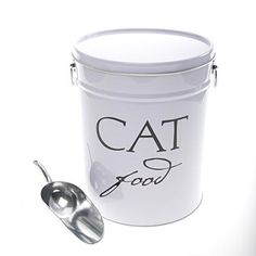 Reigning Cats & Dogs: 10 Sources for Stylish Pet Products Spray paint old popcorn tin and use vinyl lettering to label for something else. :) (This is actually a post for sourcing this, but I like the DIY idea better, because I have a popcorn tin. Rustoleum Spray Paint, Food Canisters, Dry Cat Food, Used Vinyl, Food Containers, Vinyl Lettering, Dose, Pet Store, Pet Accessories