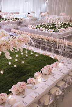 extravagant white indoor wedding ceremony beautiful