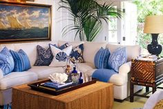Blue and White tropical living area--looks like a Barclay Butera room! Coastal Living Rooms, Home And Living, Living Room Decor, Living Spaces, Living Area, Dining Room, Classic Interior, Home Interior Design, West Indies Decor