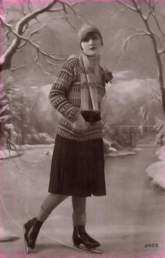 Early 20th century ice skater.