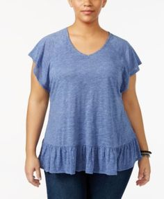 Style & Co Plus Size Flutter-Sleeve Peplum Top, Only at Macy's - Purple 1X