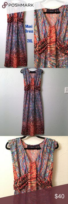 Wore Once ~ 2XL Super Gorgeous Maxi Dress **Bundle any 2 items & get an Automatic Discount SIZE = 2XL Super Gorgeous & Soft Maxi Dress by 24/7 Sleeveless, Princess cut & Very Flattering with a bit of stretchy flow.  Amazing & Comfortable too!!  ** Beautiful watercolor print, blues, turquoise, orange & Black EUC - Wore one time & put in the closet & it got lost amongst all my clothes, lol. 95% Polyester 5% Spandex  SAME DAY SHIPPING D247MD Denim 24/7 Dresses Maxi
