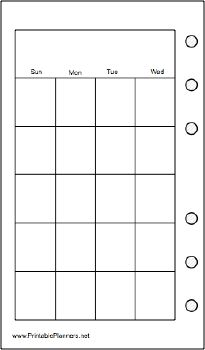 This daily planner page goes on the left-hand side of your pocket organizer sized datebook. It has the first half of one month per page and is oriented vertically. Free to download and print