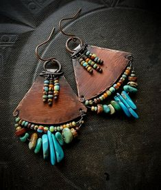 Tribal Southwest Tur  Tribal Southwest Turquoise Fringe Aged Copper Earrings