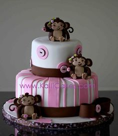 #Monkey Cake ~ Pink Baby Shower Ideas ~ Would be cute if we had 2 monkies on it for the twins
