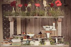 Rustic Dessert Display-great use of bowls and stands I am looking for. Just not the white-in clear or amber glass