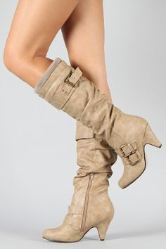 Buckle Sweater Knee High Boot - $32.90