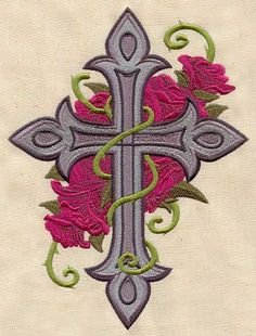 Cross and Roses   Urban Threads: Unique and Awesome Embroidery Designs
