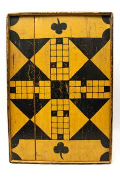 Double Sided Antique Folk Art Game Board in Black and Mustard Original Paint, New England 19th Century, Z & K Antiques