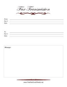 This Printable Fax Cover Sheet Shows A Large Pushpin On A Sheet Of