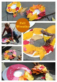 Leaf Wreaths Craft - Do this with Grandpa's leaves that he dried for us!!!  Perfect!!! Put on the front door.