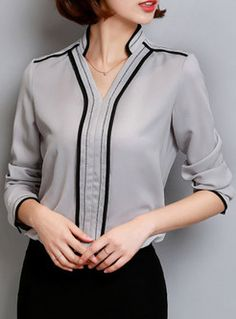 Work V-Neck Patch Slim Hit Color Blouse