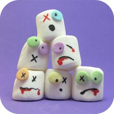 attack of the zombie marshmallows!!!  http://thedecoratedcookie.com/2010/10/attack-of-the-zombie-marshmallows/