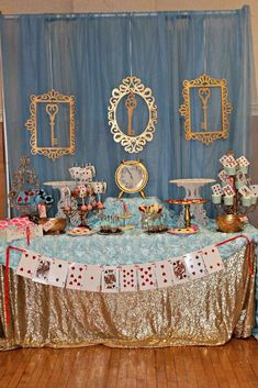 Alice in Wonderland birthday party dessert table! See more party ideas at CatchMyParty.com!