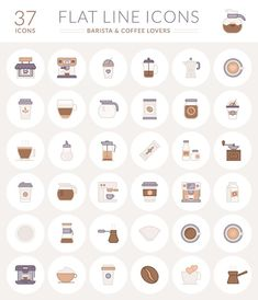 The Free Barista & Coffee Lover Flat Line Icon Set (AI EPS SVG & PNG)  Design Speckyboy Design Magazine