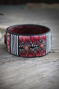 Art Bracelet wide Bangle abstract Bracelet Modern by Lelandjewelry