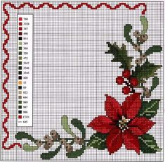Cross Stitch Borders, Cross Stitch Rose, Cross Stitch Flowers, Cross Stitch Designs, Cross Stitching, Cross Stitch Embroidery, Cross Stitch Patterns, Christmas Mood, Christmas Cross
