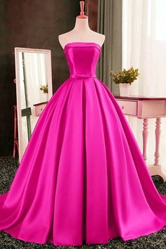 Prom Dresses For Teens, Chic Strapless High-Low Rose Pink Prom Dress Ruched Dresses Modest Ball Gowns Evening, Ball Gowns Prom, Party Gowns, Ball Dresses, Cute Dresses, Evening Dresses, Wedding Gowns, Pink Ball Gowns, Red Gowns