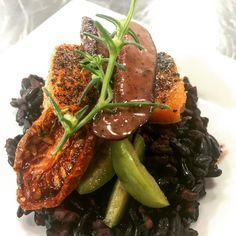 """9 Likes, 2 Comments - Feast & Merriment (@feast_and_merriment) on Instagram: """"Menu Testing: Pepper crusted salmon with black rice, oven dried tomato, castelvetrano olive and…"""""""