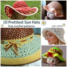 10 Pretty Sun Hat free #crochet patterns   SimplyCollectibleCrochet.com
