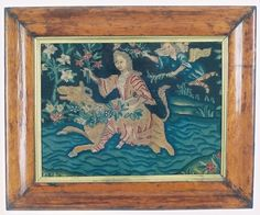 Europa and The Bull. Early French Needlepoint in Maple Frame. Available from Catherine Shinn.com