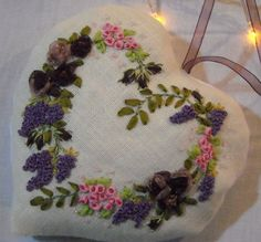 """I ❤ ribbon embroidery . . . Elisabeth made this heart embroidery after a one day workshop. The model comes from """"La Broderie au Ruban"""" by Simone l'Homme-Brignatz. ~Posted By Anne Nicolas-Whitney"""