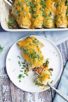 Sweet Potato and Black Bean Veggie Enchiladas recipe. The best vegetarian enchiladas - fast, easy, and healthy!